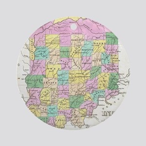 Vintage Map of Indiana (1827) Round Ornament