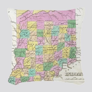 Vintage Map of Indiana (1827) Woven Throw Pillow