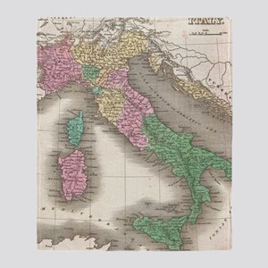 Vintage Map of Italy (1827) Throw Blanket