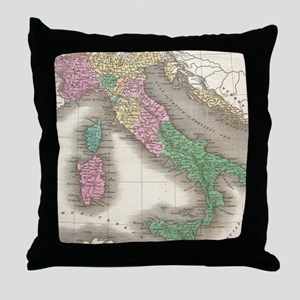 Vintage Map of Italy (1827) Throw Pillow