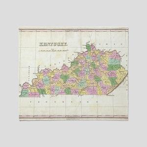 Vintage Map of Kentucky (1827) Throw Blanket