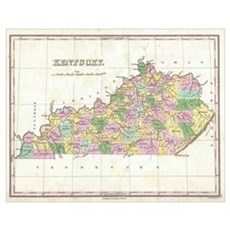 Vintage Map of Kentucky (1827) Poster
