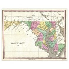 Vintage Map of Maryland (1827) Poster