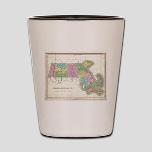 Vintage Map of Massachusetts (1827) Shot Glass