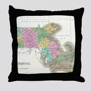 Vintage Map of Massachusetts (1827) Throw Pillow