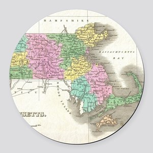 Vintage Map of Massachusetts (182 Round Car Magnet