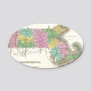 Vintage Map of Massachusetts (1827 Oval Car Magnet