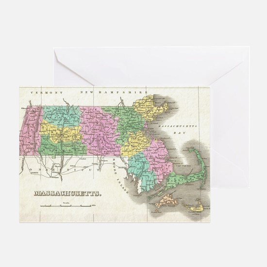 Vintage Map of Massachusetts (1827) Greeting Card