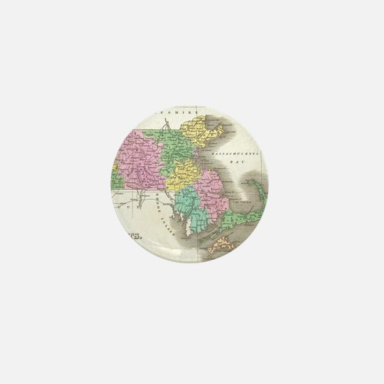 Vintage Map of Massachusetts (1827) Mini Button