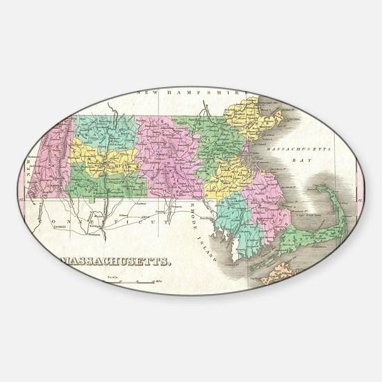 Vintage Map of Massachusetts (1827) Sticker (Oval)