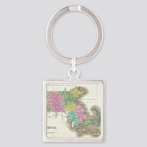 Vintage Map of Massachusetts (1827 Square Keychain