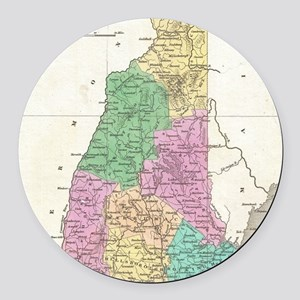 Vintage Map of New Hampshire (182 Round Car Magnet
