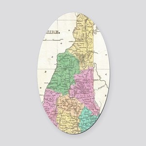 Vintage Map of New Hampshire (1827 Oval Car Magnet