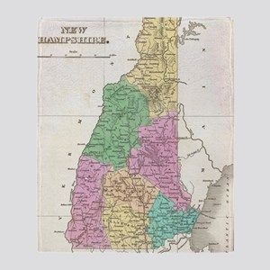 Vintage Map of New Hampshire (1827) Throw Blanket