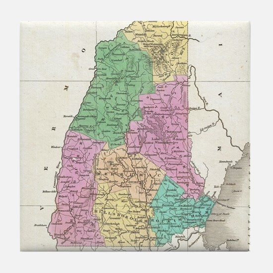 Vintage Map of New Hampshire (1827) Tile Coaster