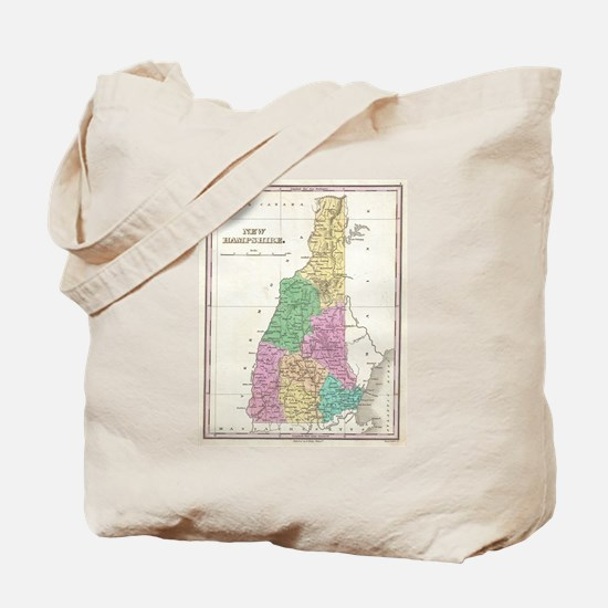 Vintage Map of New Hampshire (1827) Tote Bag