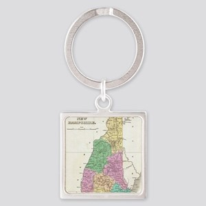 Vintage Map of New Hampshire (1827 Square Keychain