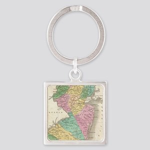 Vintage Map of New Jersey (1827) Square Keychain
