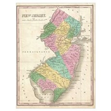 Vintage Map of New Jersey (1827) Poster