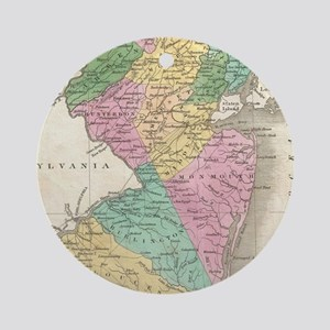 Vintage Map of New Jersey (1827) Round Ornament