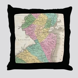 Vintage Map of New Jersey (1827) Throw Pillow