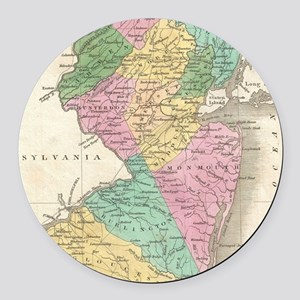 Vintage Map of New Jersey (1827) Round Car Magnet