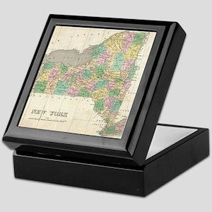 Vintage Map of New York (1827) Keepsake Box