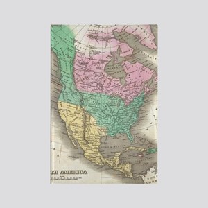 Vintage Map of North America (182 Rectangle Magnet