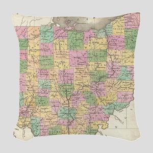Vintage Map of Ohio (1827) Woven Throw Pillow