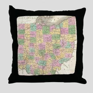 Vintage Map of Ohio (1827) Throw Pillow