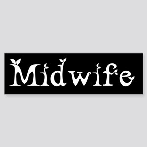 Midwife Black and White Bumper Sticker