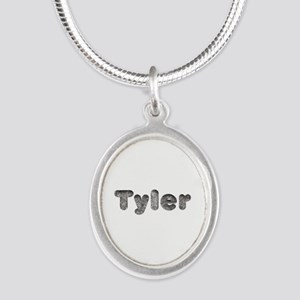 Tyler Wolf Silver Oval Necklace