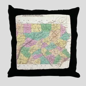 Vintage Map of Pennsylvania (1827) Throw Pillow