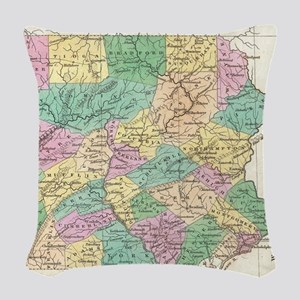 Vintage Map of Pennsylvania (1 Woven Throw Pillow