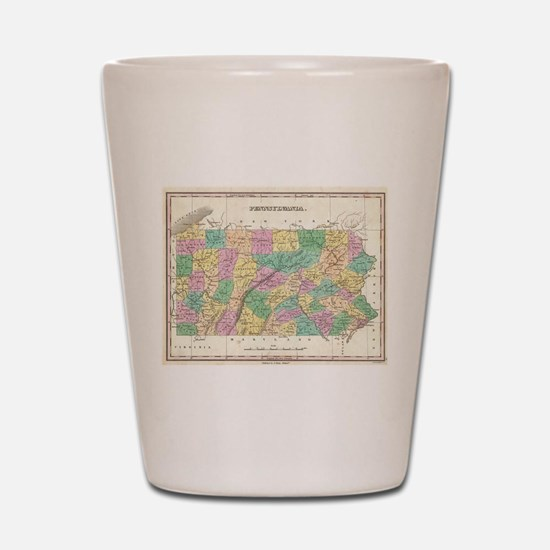 Vintage Map of Pennsylvania (1827) Shot Glass