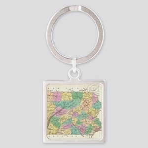 Vintage Map of Pennsylvania (1827) Square Keychain