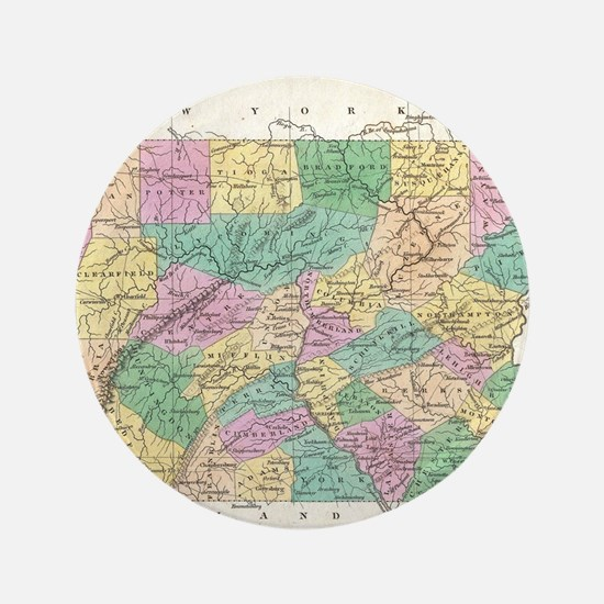 Vintage Map of Pennsylvania (1827) Button
