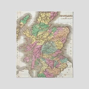 Vintage Map of Scotland (1827) Throw Blanket