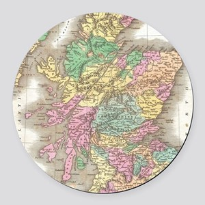 Vintage Map of Scotland (1827) Round Car Magnet
