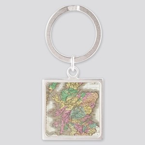 Vintage Map of Scotland (1827) Square Keychain