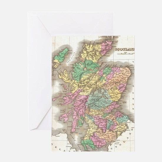 Vintage Map of Scotland (1827) Greeting Card