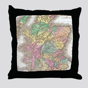 Vintage Map of Scotland (1827) Throw Pillow
