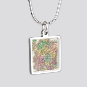 Vintage Map of Scotland (1 Silver Square Necklace