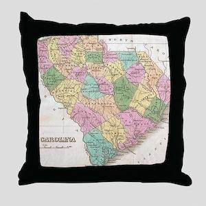 Vintage Map of South Carolina (1827)  Throw Pillow