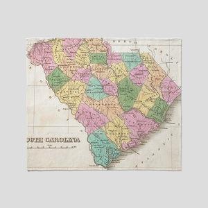 Vintage Map of South Carolina (1827) Throw Blanket