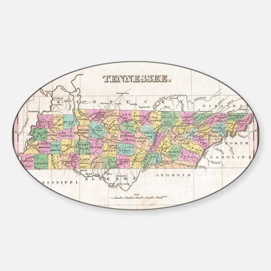 Vintage Map of Tennessee (1827) Sticker (Oval)