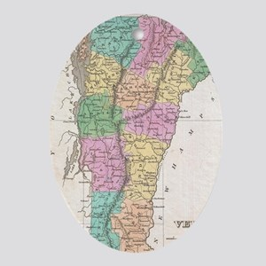 Vintage Map of Vermont (1827) Oval Ornament