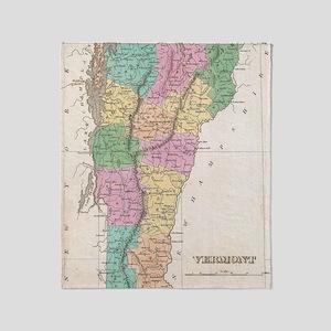 Vintage Map of Vermont (1827) Throw Blanket