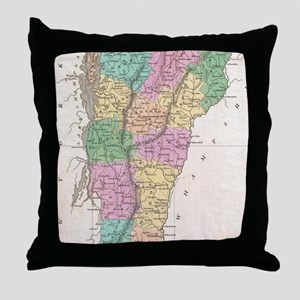 Vintage Map of Vermont (1827) Throw Pillow