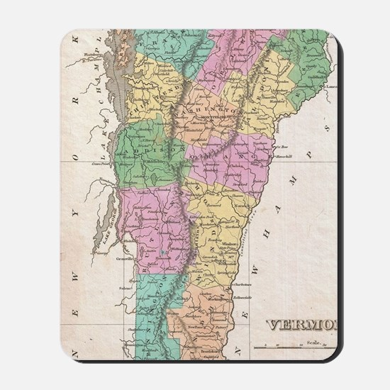 Vintage Map of Vermont (1827) Mousepad